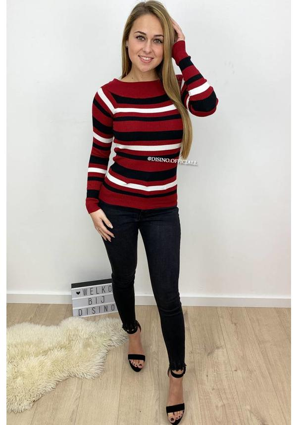 CHERRY - 'LOLA' - STRIPED OFF SHOULDER TOP