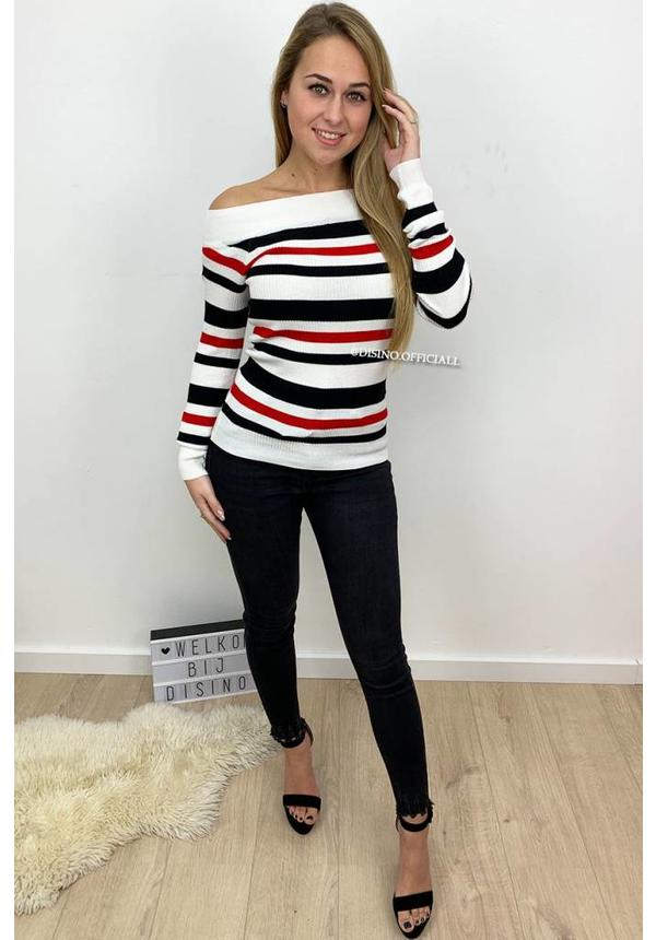 WHITE - 'LOLA' - STRIPED OFF SHOULDER TOP
