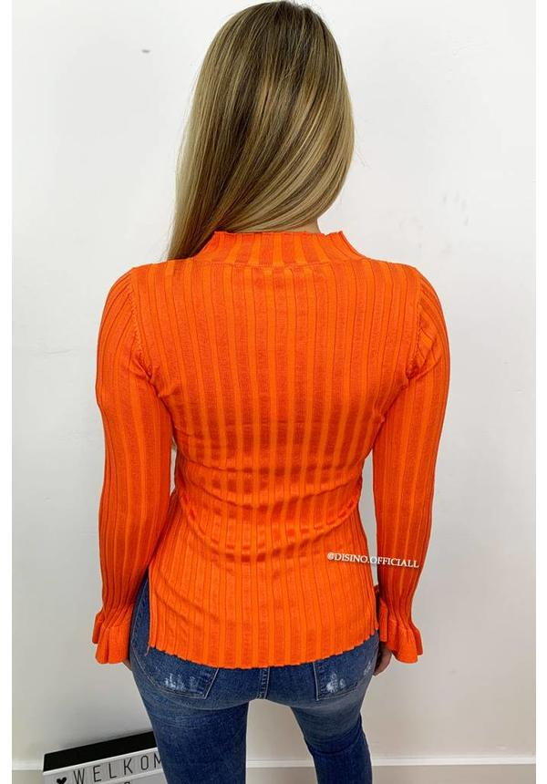 ORANGE - 'MADDY' - RIBBED BELL SLEEVE TOP