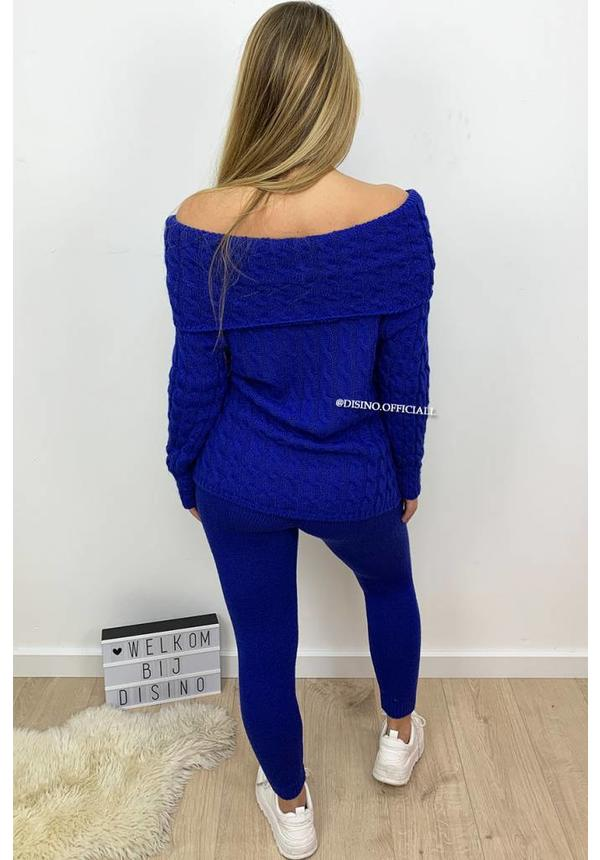 ROYAL BLUE - 'LENA' - OFF SHOULDER CABLE KNIT LOUNGE SET