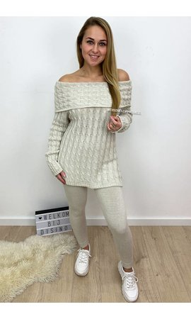 BEIGE - 'LENA' - OFF SHOULDER CABLE KNIT LOUNGE SET