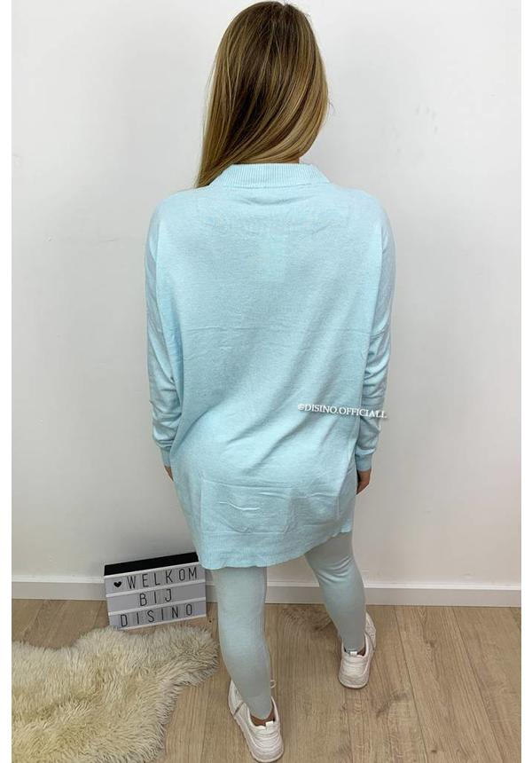 BABY BLUE - 'SHELLEY' - LEO KNOT FASHIONABLE SOFT COMFY SUIT