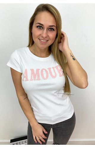 WHITE - PINK PAILLET AMOUR  - TEE