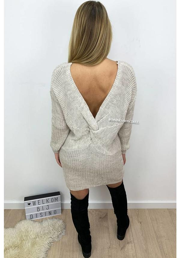BEIGE - 'TANIA' - CABLE KNIT OPEN BACK KNOT DRESS