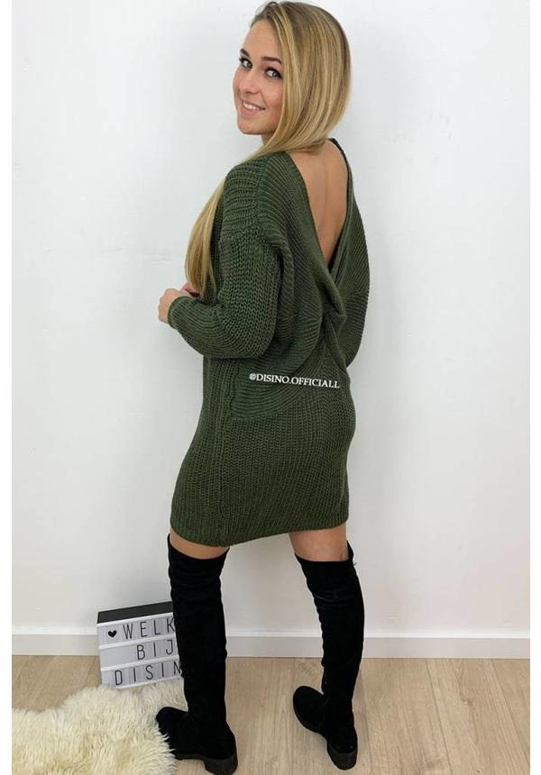 OLIVE GREEN - 'TANIA' - CABLE KNIT OPEN BACK KNOT DRESS