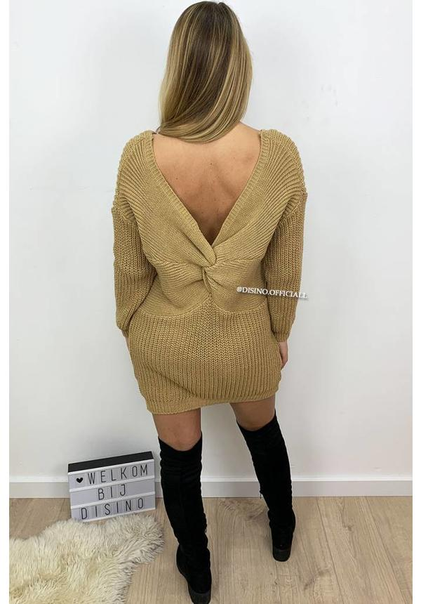 CAMEL - 'TANIA' - CABLE KNIT OPEN BACK KNOT DRESS