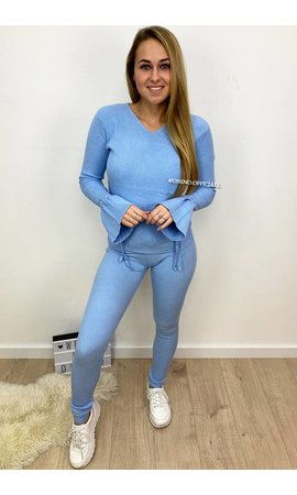 BABY BLUE - 'KATJA' - BELL SLEEVE TIE UP TWO PIECE
