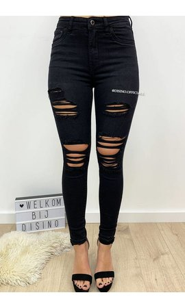 QUEEN HEARTS JEANS - BLACK DENIM - HIGH WAIST RIPPED JEANS - 589