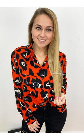 CORAL - 'SAMANTHA' - OVERSIZED LEOPARD PRINT BLOUSE