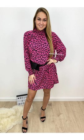 FUCHSIA - 'DANIELLE' - HIGH NECK LEOPARD PRINT DRESS
