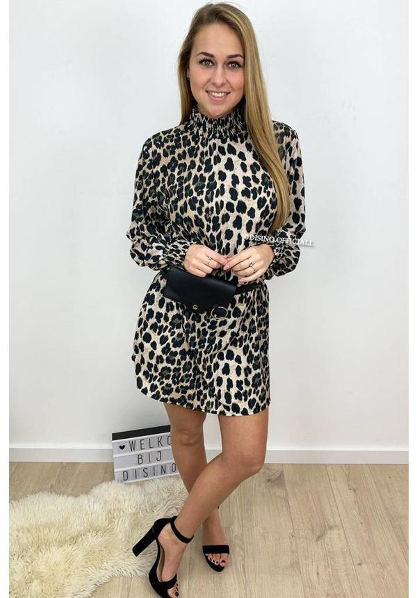 BEIGE - 'DANIELLE' - HIGH NECK LEOPARD PRINT DRESS