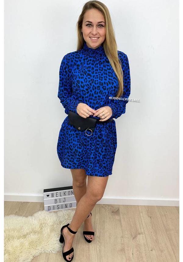 ROYAL BLUE - 'DANIELLE' - HIGH NECK LEOPARD PRINT DRESS