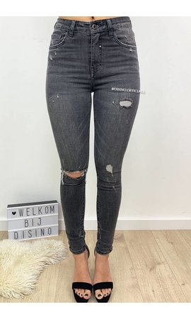 QUEEN HEARTS JEANS - DARK GREY - RIPPED SKINNY HIGH WAIST - 9170-4