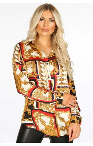RED - 'VERSATILE' - VERSACE INSPIRED OVERSIZED BLOUSE