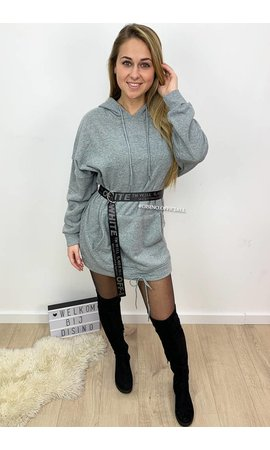 GREY - 'NICOLE' - PREMIUM QUALITY HOODIE DRESS