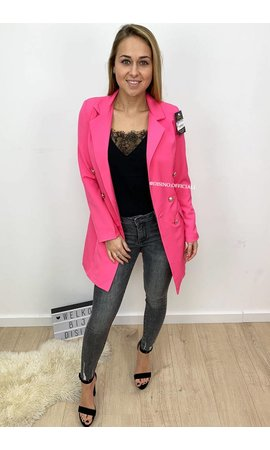 FUCHSIA - 'KIMMY' - GOLD BUTTON BLAZER