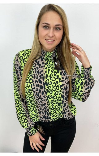 NEON YELLOW - 'NATHALIE' - HIGH NECK LEOPARD BLOUSE