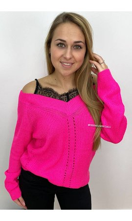 FUCHSIA - 'AMY' - LACE 'N OFF SHOULDER KNIT SWEATER