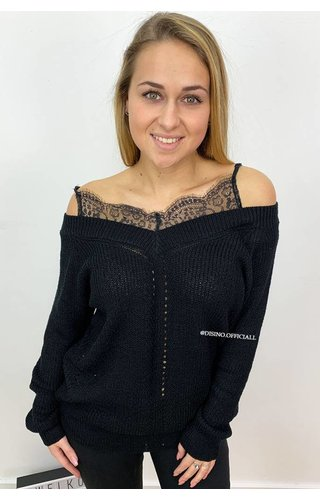 BLACK - 'AMY' - LACE 'N OFF SHOULDER KNIT SWEATER
