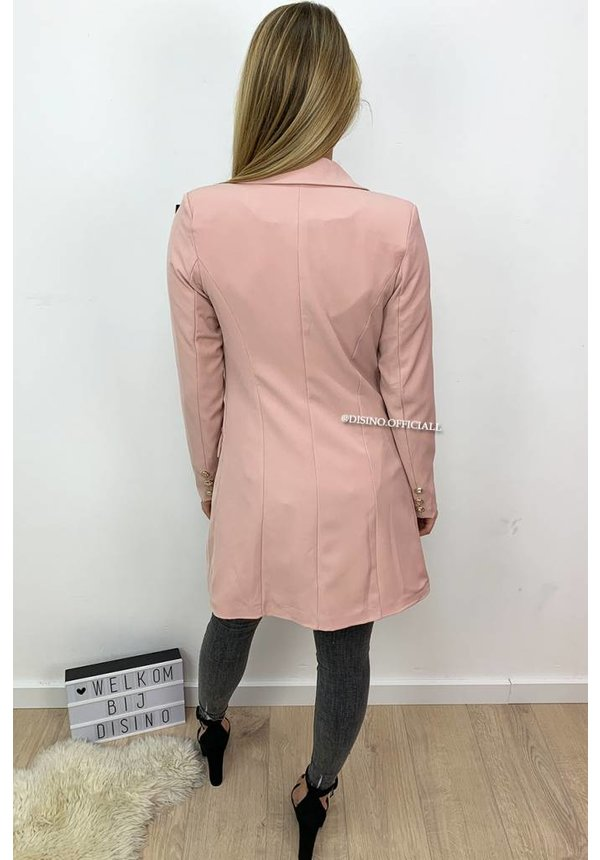 BLUSH - 'KIMMY' - GOLD BUTTON BLAZER DRESS