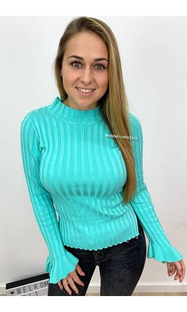 ICE BLUE - 'MADDY' - RIBBED BELL SLEEVE TOP