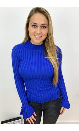 ROYAL BLUE - 'MADDY' - RIBBED BELL SLEEVE TOP