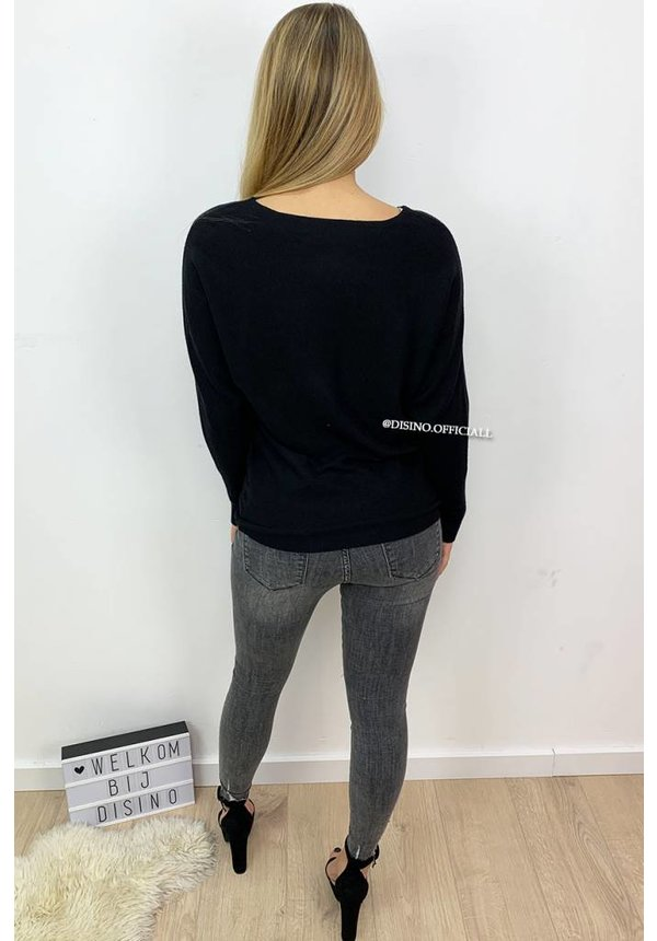 BLACK - 'BELINDA' - BASIC FINE SWEATER