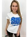 WHITE - 'REBELZ' - BLUE REBEL REBEL TEE