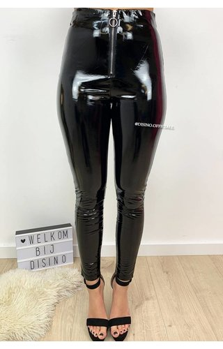 BLACK - 'KHLOE' - HIGH WAIST VINYL PANTS WITH ZIP