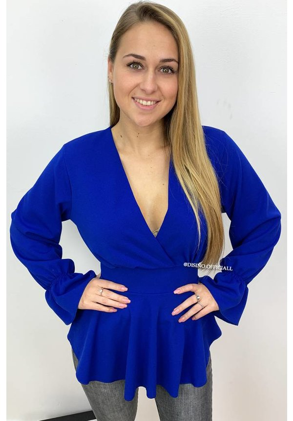 ROYAL BLUE - 'JOYCE' - BELL SLEEVE PEPLUM TOP