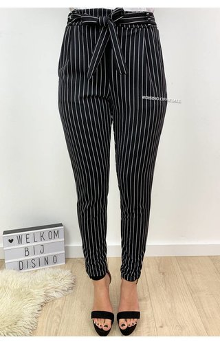BLACK - 'DANIA' - STRIPED PANTS