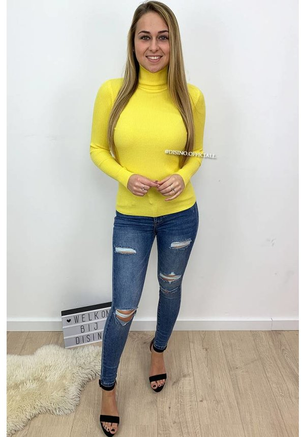 YELLOW - 'DEBBIE' - BASIC RIBBED COL