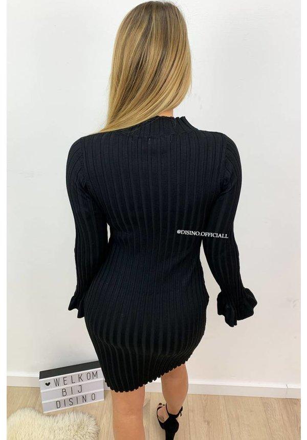 BLACK - 'MADDY DRESS' - RIBBED BELL SLEEVE DRESS