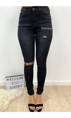 QUEEN HEARTS JEANS - BLACK DENIM - RIPPED SKINNY HIGH WAIST - 9170