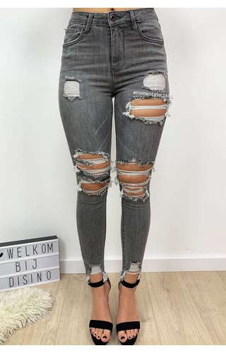 QUEEN HEARTS JEANS - GREY - MAX RIPPED SKINNY HIGH WAIST - 597