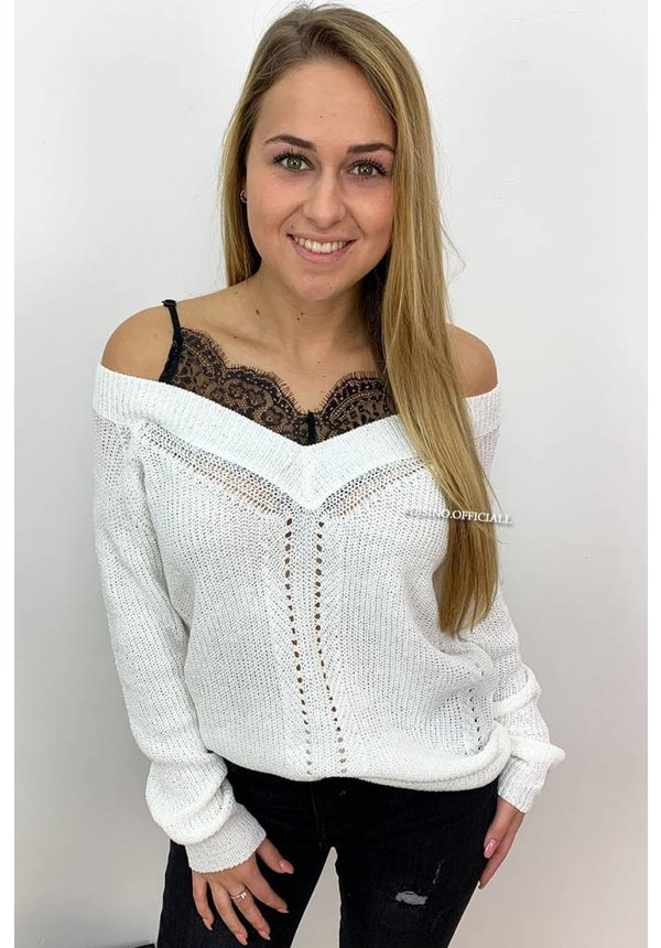WHITE - 'AMY' - LACE 'N OFF SHOULDER KNIT SWEATER