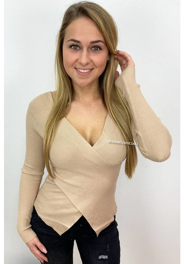 TAUPE - 'ZELDA' - CROSS OVER RIBBED TOP