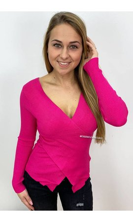FUCHSIA - 'ZELDA' - CROSS OVER RIBBED TOP