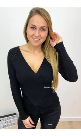 BLACK - 'ZELDA' - CROSS OVER RIBBED TOP