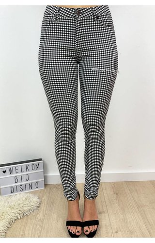 BLACK - 'LEONE' - CHECKERED SUPER STRETCH TREGGING PANTS