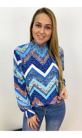 BLUE - 'ZENZI' - HIGH NECK ZIGZAG BLOUSE
