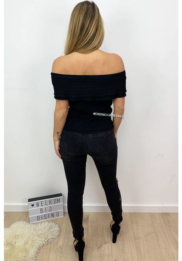 BLACK - 'VIVIAN' - OFF SHOULDER TOP