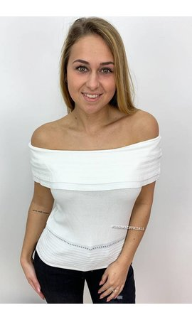 WHITE - 'VIVIAN' - OFF SHOULDER TOP