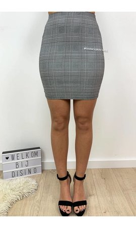 GREY - 'SIERRA SKIRT' - CHECKERED SUPER STRETCH SKIRT