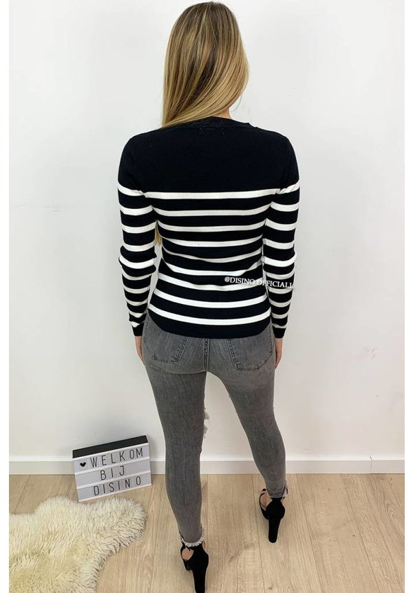 BLACK - 'GIA' - STRIPED GOLD BUTTON RIBBED TOP