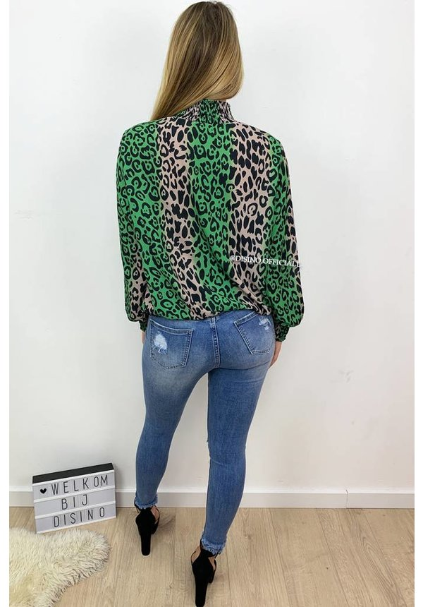GREEN - 'NATHALIE' - HIGH NECK LEOPARD BLOUSE