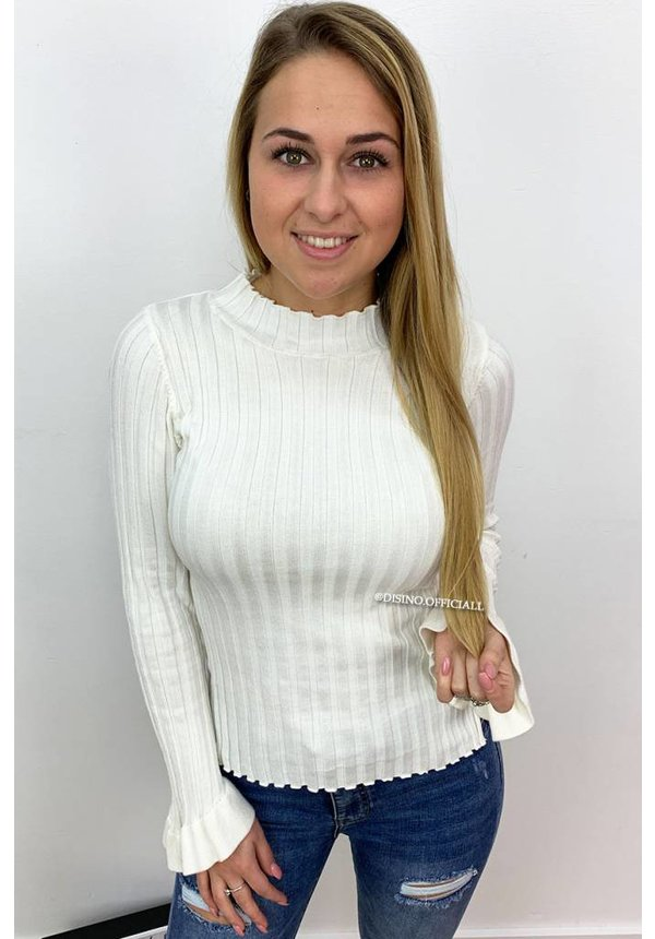 WHITE - 'MADDY' - RIBBED BELL SLEEVE TOP