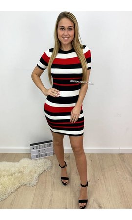 RED - 'NIKKIE' - STRIPED RIBBED DRESS
