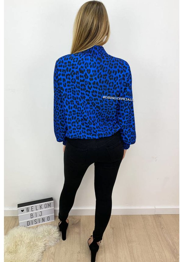 ROYAL BLUE - 'LAURA' - HIGH NECK LEOPARD PRINT TOP