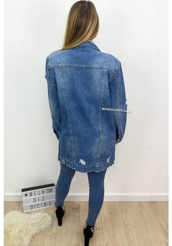 BLUE - 'KELLY' - LONG OVERSIZED RIPPED DENIM JACK